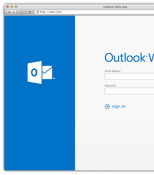 Outlook Web Access allows access to your email from any web browser
